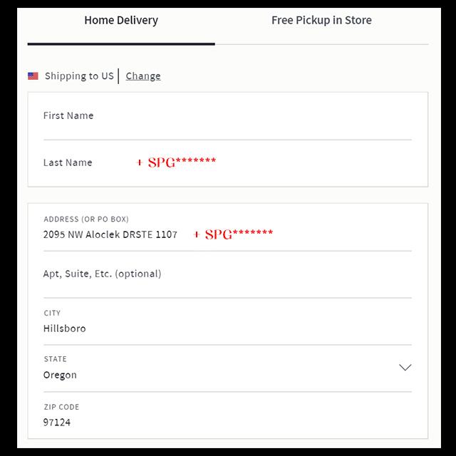 收件地址填寫示意