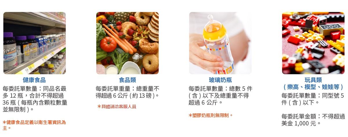 Shipgo_代運限制規範_少量可代運商品:健康食品、食品類、玻璃奶瓶、玩具類(樂高、模型、娃娃等)